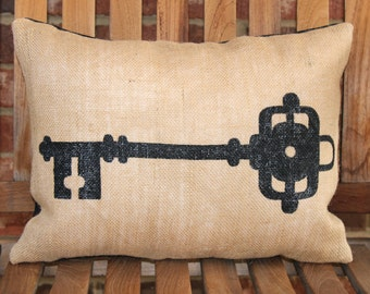 Hand Painted Burlap Skeleton Key #1 Pillow Cover