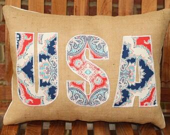 USA appliqued onto Burlap pillow cover.