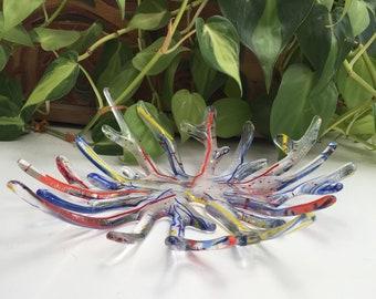 """Mardi Gras Glass 8"""" low bowl, centerpiece fused glass"""