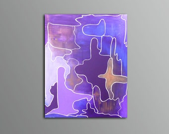 "SOLD - ""Fiori I"" - Original Abstract, Modern, Purple, Grey, Deep Blue Painting"