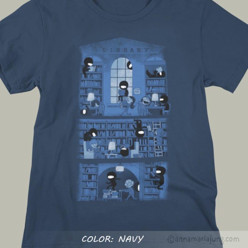 1311b926f Ninjas in the library T-Shirt Unisex & Ladies Slim Fit cute | Etsy