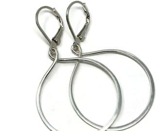 Teardrop Hoop Lever back Earrings 1.25 Inch Argentium Polished Silver