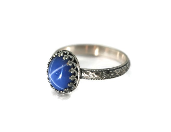 Large Oval Created Blue Star Sapphire Sterling Silver Ring Symmetrical Flower Band Plain Bezel Antique Finish