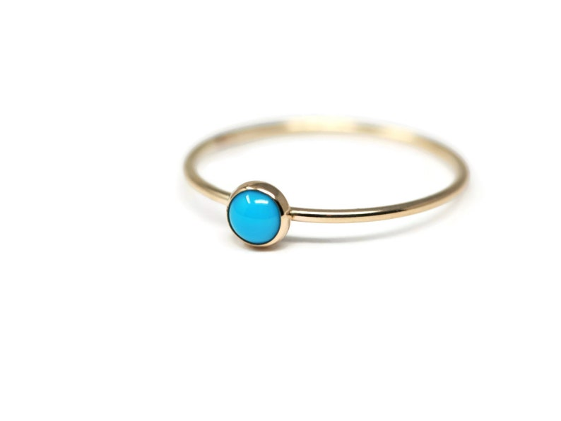 Sizes 5,6,7 and 8 Round 4 mm Genuine Sleeping Beauty Turquoise and 14K Gold Filled Skinny Ring