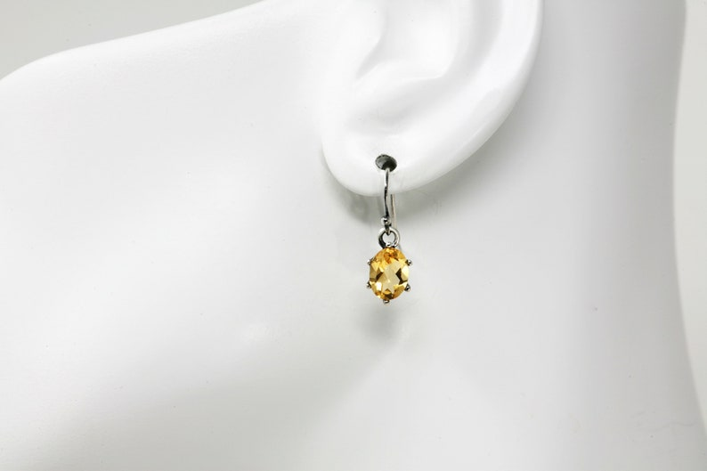 Oval Faceted Citrine Drop Earrings Vintage Silver