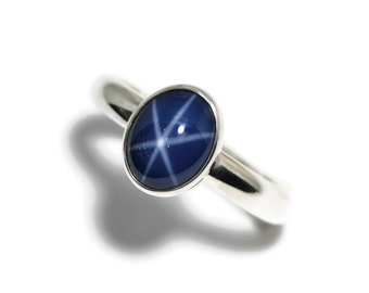 Large Oval Created Blue Star Sapphire Sterling Silver Ring N-S