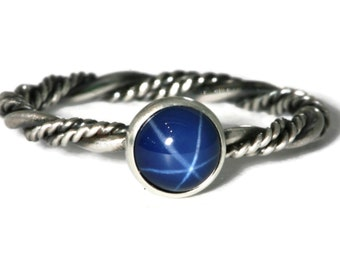 6mm Created Blue Star Sapphire Ring Twisted Band Vintage Silver