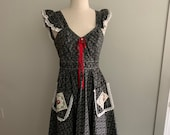 Young Edwardian 1970s black white floral pinafore dress-mint condition-size XS