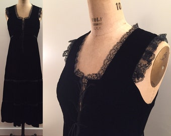 36ef4c806 1970s Black Velvet bustier top maxi dress