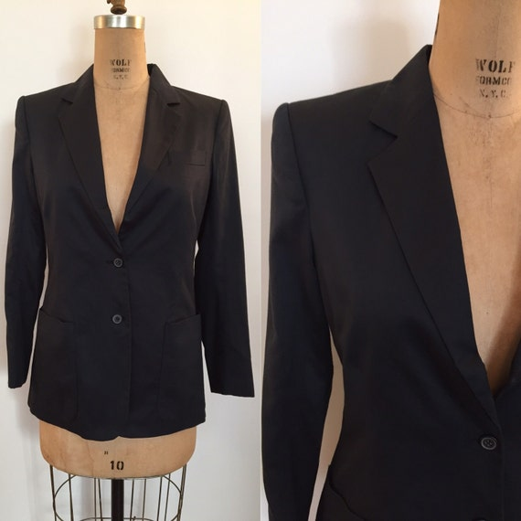 Stephen Sprouse 1980s black cotton blazer