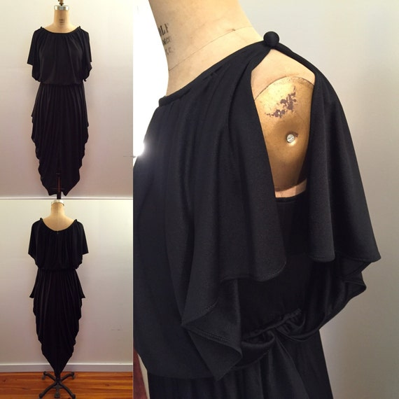 80s black nylon jersey draped dress