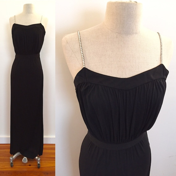 Fine rayon jersey knit Vicky Tiel evening dress wi