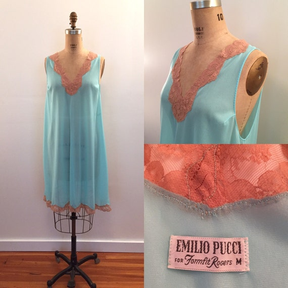 Emilio Pucci for Formfit Rogers turquoise with nu… - image 1