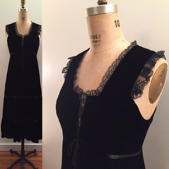 1970s Black Velvet bustier top maxi dress