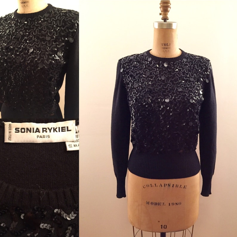 Sonia Rykeil vintage black angora party sweater with sequins and paillettes