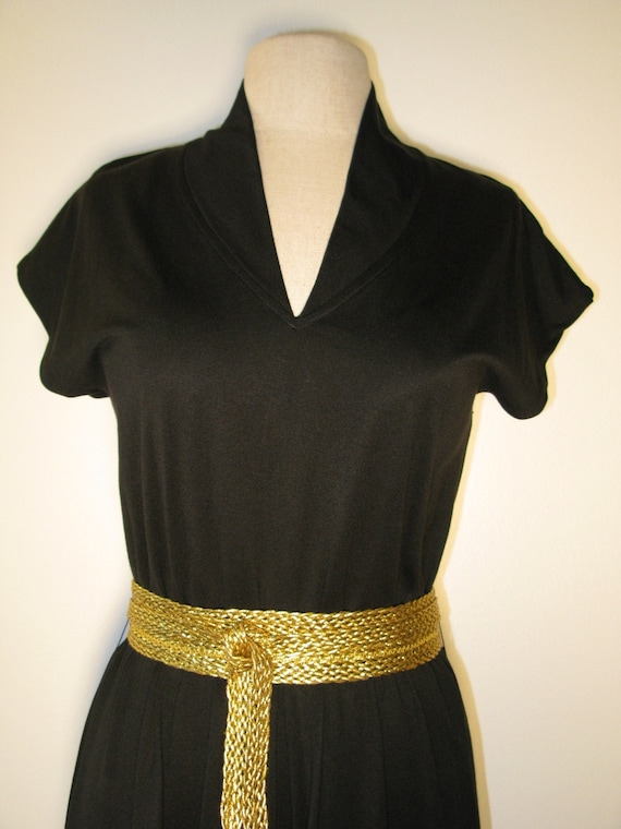 Clovis Ruffin Vintage 70s Blk Knit Dress-Size M