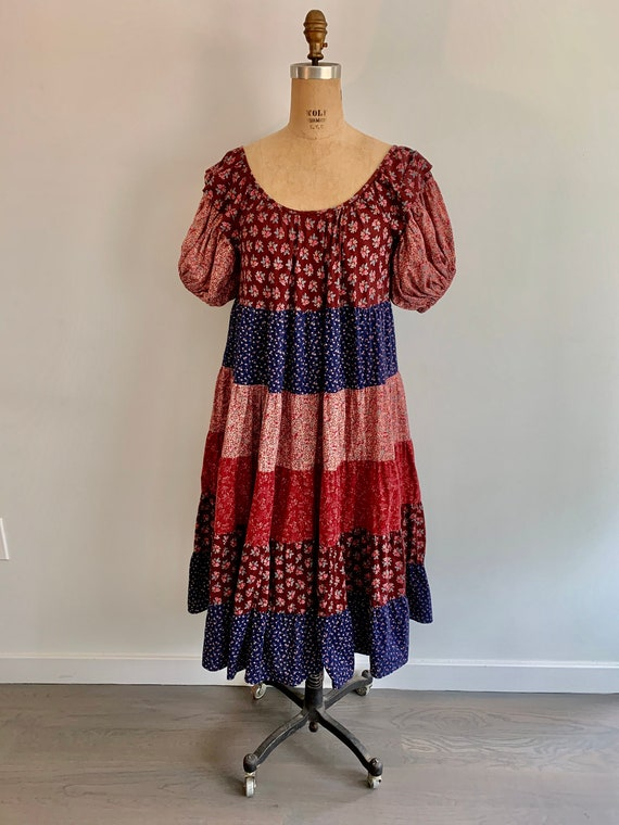 Beautiful Boho 1970s tiered floral dress