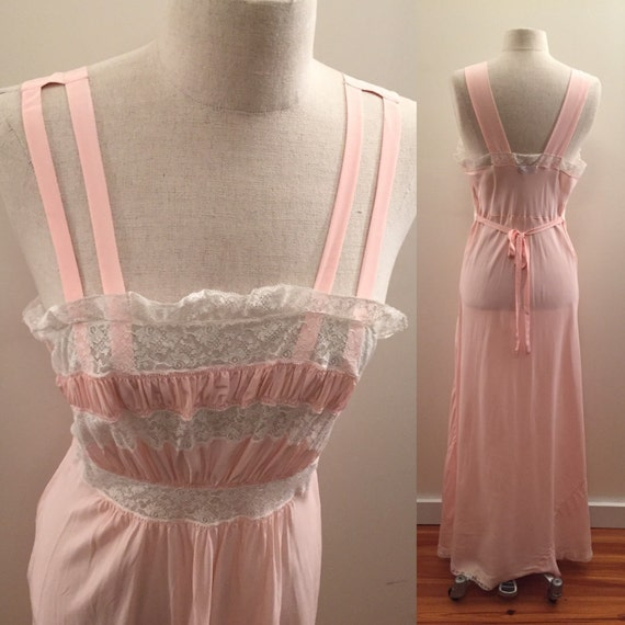 Styled by Josie pink rayon 1970s lingerie gown