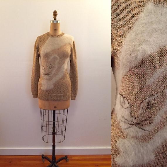 1970s beige & cream puffy sleeve novelty cat sweat