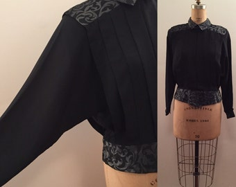 Awesome 80's Nicola black blouse