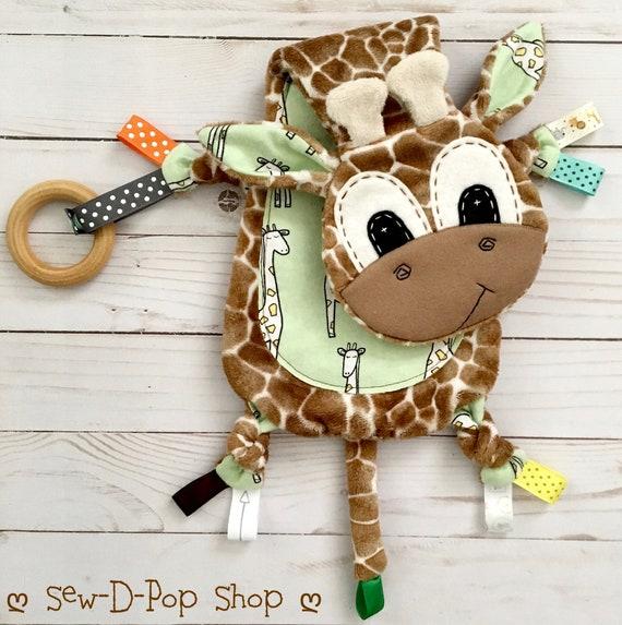 Giraffe Mini Lovey Neutral Baby Blanket Organic Wooden Teether Buddy