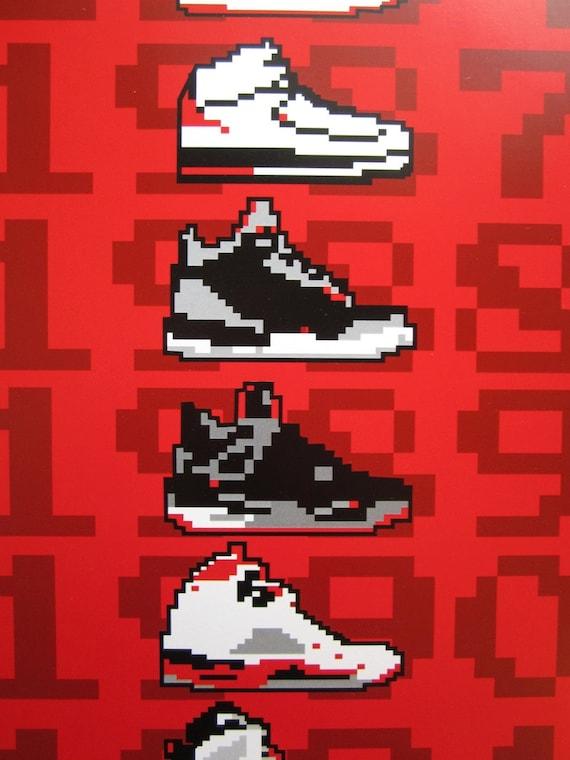 size 40 61a99 39a72 Air Jordan 8-Bit Sneaker impression numérique   Etsy