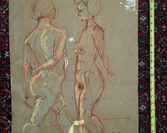 Figure Drawing-Female-Nude-Human Form-Original Art on Paper-Large Expressive Life Study-gesture drawing-Affordable art-interior decor-Sketch