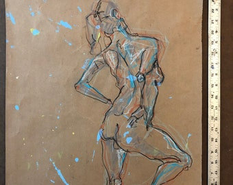 ORIGINAL Drawing-Charcoal and pastel-Female nude-Large color drawing-Fine art-Affordable wall art-Mixed media-Interior decor-Figurative art