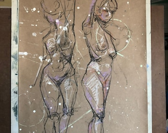 Original Drawing-Charcoal-Pastel-Nude females-Extra LARGE-Affordable wall art-Home decor-Contemporary figurative art-Fine art-Interior decor