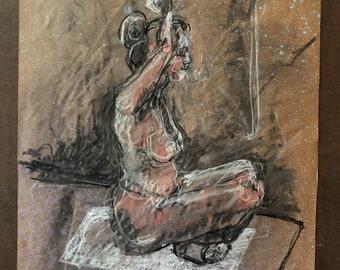 Original Drawing-Charcoal art-Female nude-Figure study-Fine art decor-Contemporary art-Yoga pose-Affordable art-Interior design-Wall art