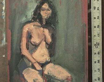 Original Oil painting-Nude female-Figure study-Affordable wall art-Small painting-Interior Decor-Fine art-Human figure-Impressionism