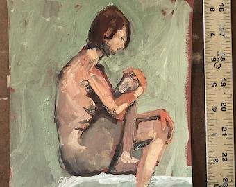 Original Oil painting-Female art-Nude Woman-Affordable wall art-Art on paper-Figure study-Oil sketch-Interior Decor-Fine art-Human figure
