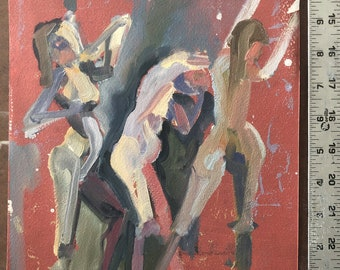 Original Oil painting-gesture-Figure study-Affordable wall art-Small oil sketch-Interior Decor-Fine art-Human figure-Impressionist-Abstract