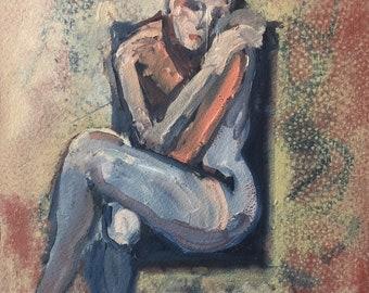 Original Oil painting-Nude female-Figure study-Redhead female-Wall art-Small sketch-Interior Decor-Fine art-Human figure-Impressionist