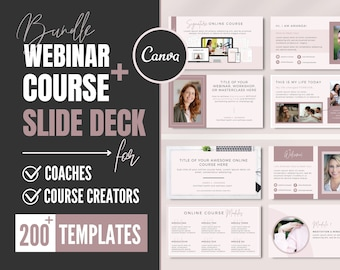 Webinar and Course Slide Deck   Canva Presentation Templates   Online Course Slides   Masterclass & Workshop Bundle   Marketing Pitch Deck