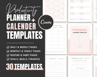 Editable Planner Template Canva   Minimalist Planner   Printable Undated Planner   Daily, Weekly, Monthly, Yearly, Goal Calendar, Finance