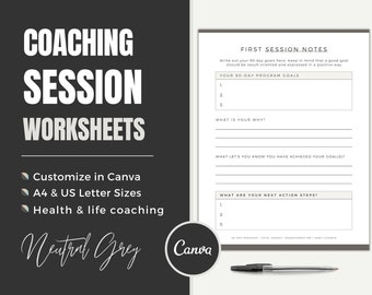 Coaching Worksheet Templates   Editable Canva Forms   Client Session Note   Coaching Tools   Health & Life Coach   Goal Planning   Printable