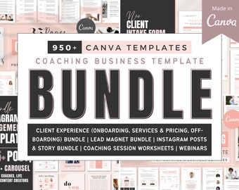 Coaching Business Template Bundle for Canva   Client Welcome Packet   Ebook, Workbook, Checklist Template   Instagram Post   Coach Worksheet