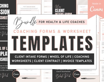 Coaching Worksheets   Canva Template for Health and Life Coaches   New Client Intake Forms   Wheel of Life   Life Coach Forms & Templates