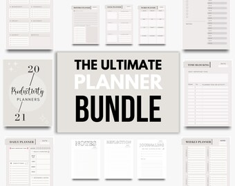 Printable Planner Bundle | Daily, Weekly, Monthly and Yearly Planners  Template | Planner Template Bundle | Monochrome