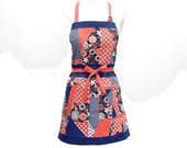 Multi-Patchwork Cotton Apron with one pocket - Wearable Art - Blue, Orange, Gray, White and Black