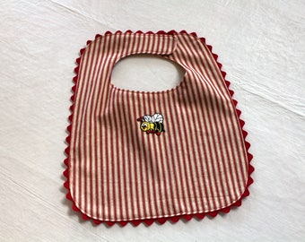 Little Bee - Red stripe Cotton Ticking Fabric Baby Bib - Reversible - fully Lined