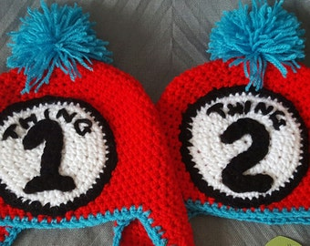 Crochet hats, Dr. Zeus hats, thing 1 and thing 2 crochet winter hats
