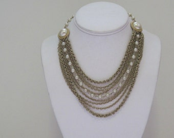 vintage 1960s Multi Chain Gold and Pearl Choker Necklace