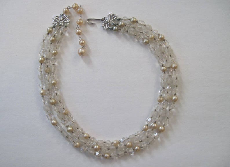 formal vintage 1950s multi-strand beaded necklace choker pearls heirloom bridal something old glass beads crystals and champagne