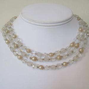something old formal choker bridal baubles and champagne heirloom glass beads vintage 1950s multi-strand beaded necklace pearls