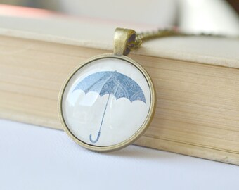 SALE - Blue Umbrella Necklace, Glass Pendant, Umbrella Jewelry, Blue and White, Chain Necklace For Women