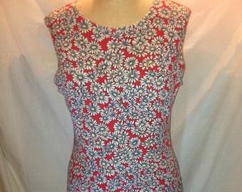 Vintage Red Sleeveless Daisy Dress by Alias Size Medium