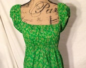 Vintage Green Floral Swirl Maxi Dress