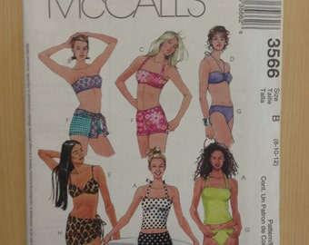 20366b70346 McCalls Sewing Pattern 3566 Misses Two Piece Bathing Suit and Cover up  Skirt Size 8-12